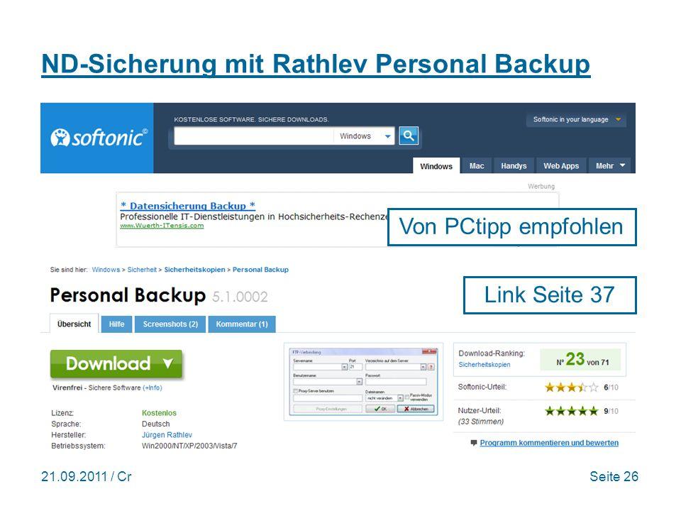 ND-Sicherung mit Rathlev Personal Backup
