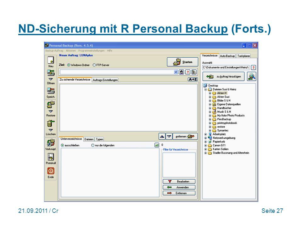 ND-Sicherung mit R Personal Backup (Forts.)