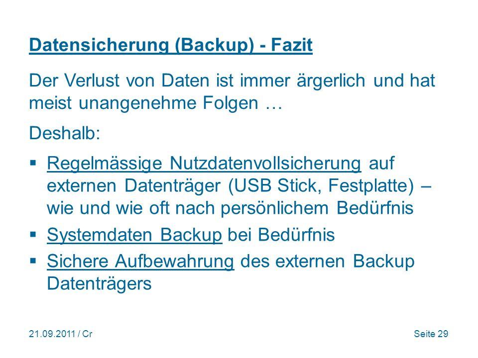 Datensicherung (Backup) - Fazit