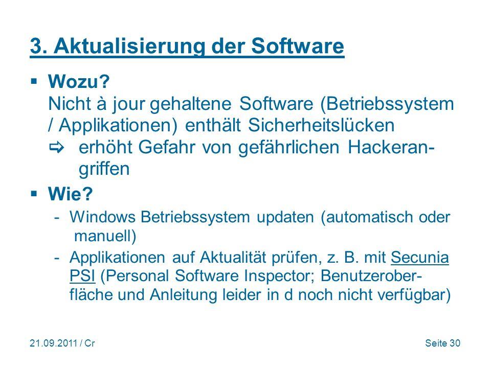 3. Aktualisierung der Software
