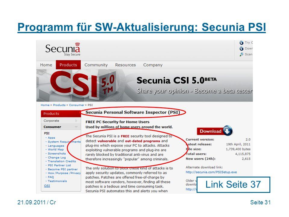 Programm für SW-Aktualisierung: Secunia PSI