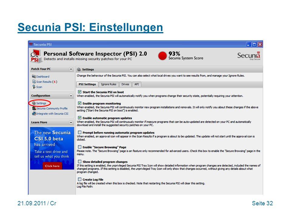 Secunia PSI: Einstellungen