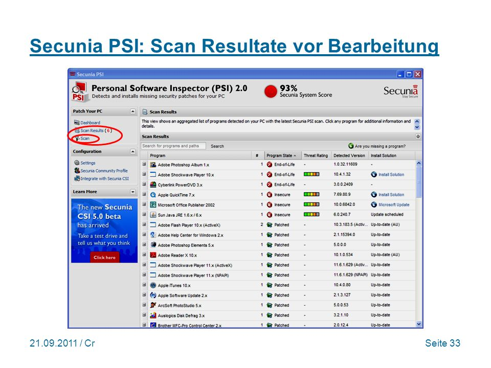 Secunia PSI: Scan Resultate vor Bearbeitung