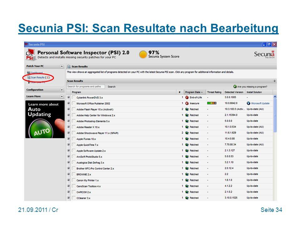 Secunia PSI: Scan Resultate nach Bearbeitung
