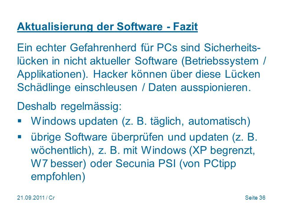 Aktualisierung der Software - Fazit