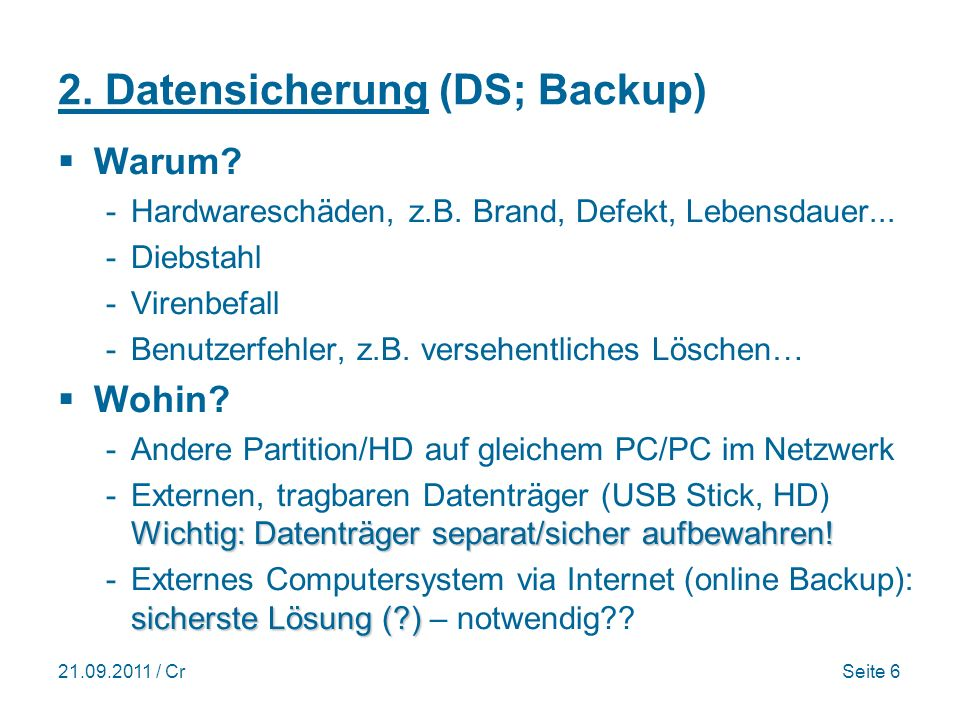 2. Datensicherung (DS; Backup)