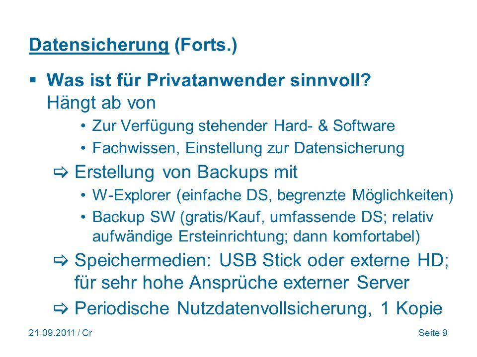 Datensicherung (Forts.)