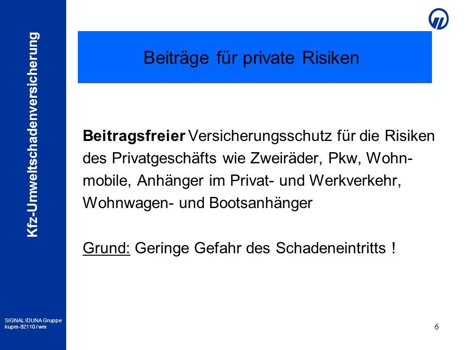 Beiträge für private Risiken