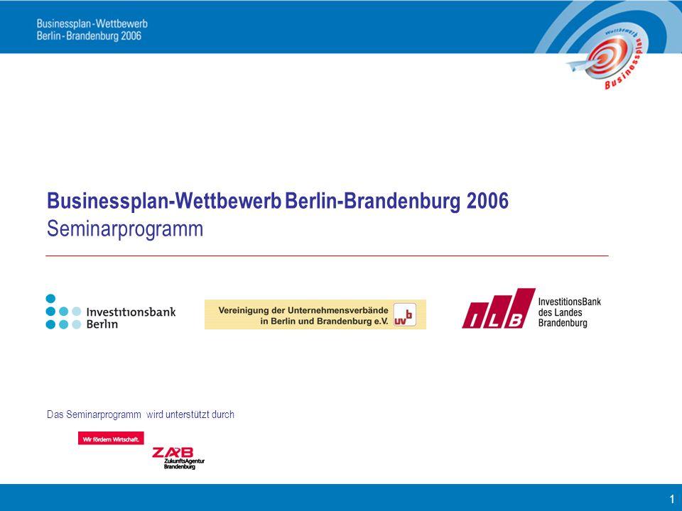 Businessplan-Wettbewerb Berlin-Brandenburg 2006 Seminarprogramm