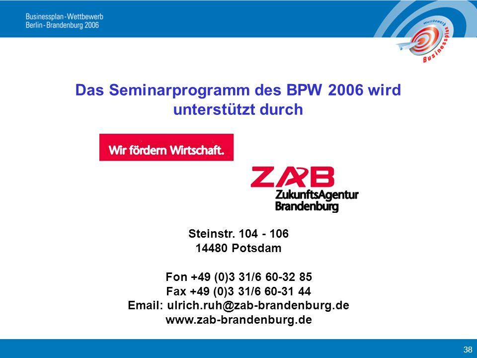 Das Seminarprogramm des BPW 2006 wird unterstützt durch