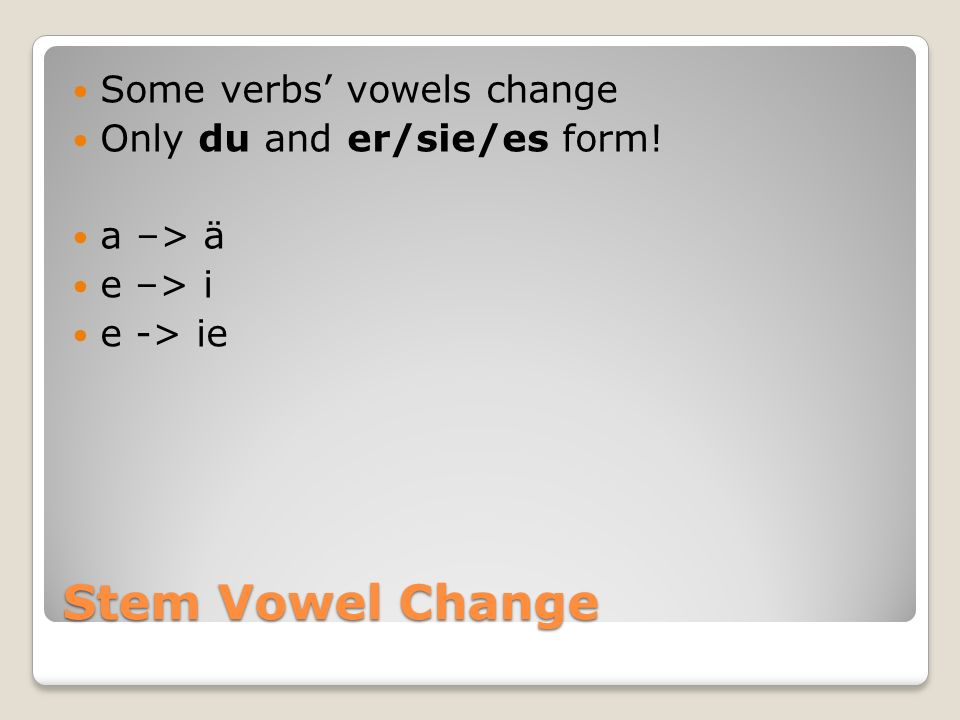 Stem Vowel Change Some verbs' vowels change