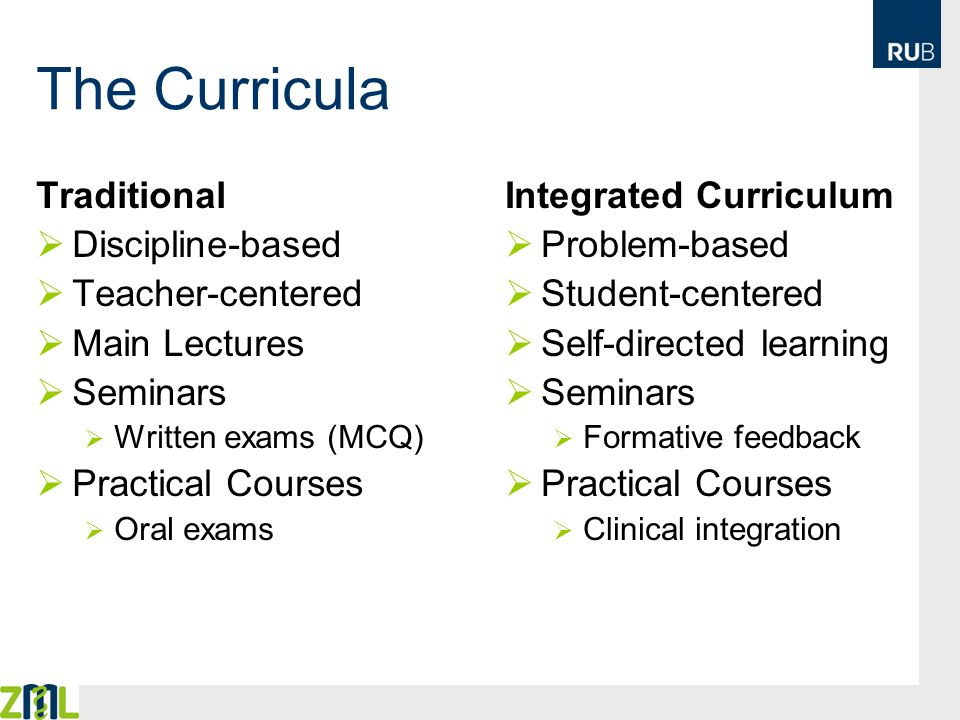 The Curricula Traditional Discipline-based Teacher-centered