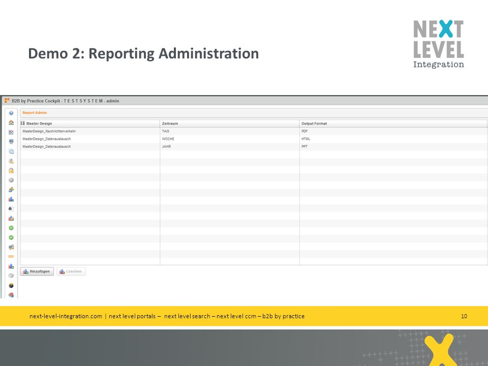 Demo 2: Reporting Administration