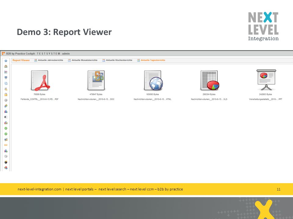 Demo 3: Report Viewer next-level-integration.com | next level portals – next level search – next level ccm – b2b by practice.