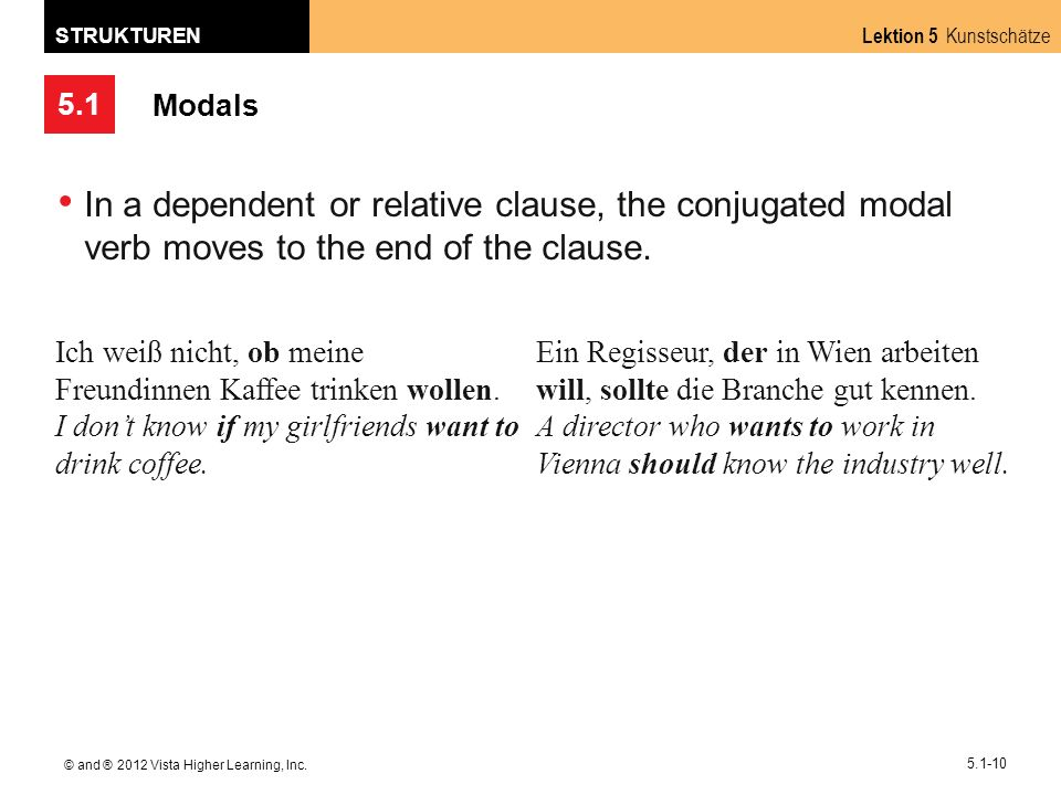 Modals In a dependent or relative clause, the conjugated modal verb moves to the end of the clause.