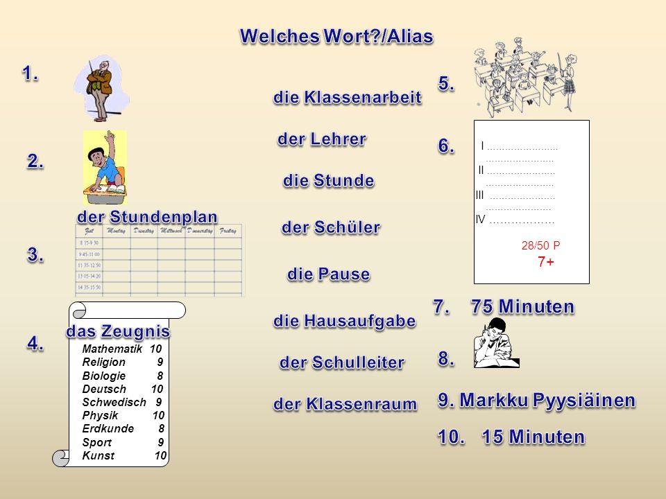 Welches Wort /Alias 1. 5. 6. 2. 3. 7. 75 Minuten 4. 8. 9.