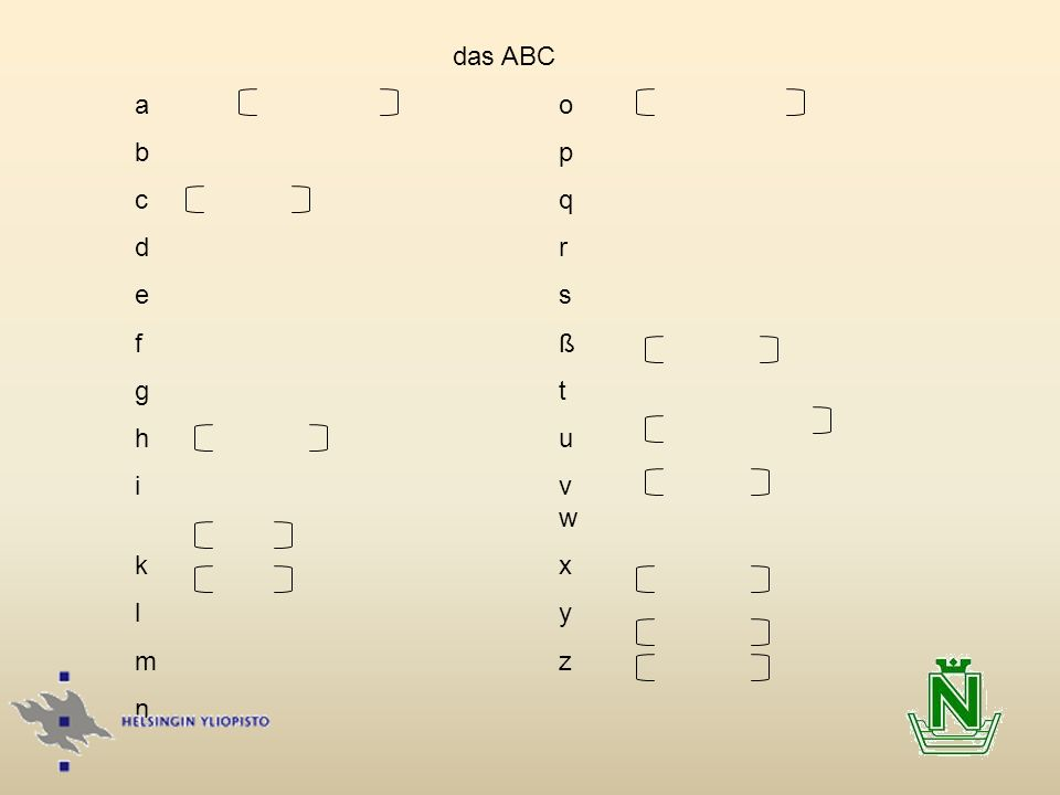 das ABC a o. b p. c q. d r. e s. f ß. g t. h u. i v w.