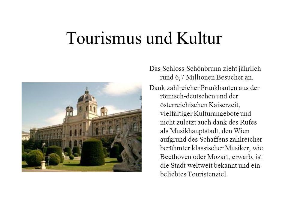 Tourismus und Kultur Das Schloss Schönbrunn zieht jährlich rund 6,7 Millionen Besucher an.