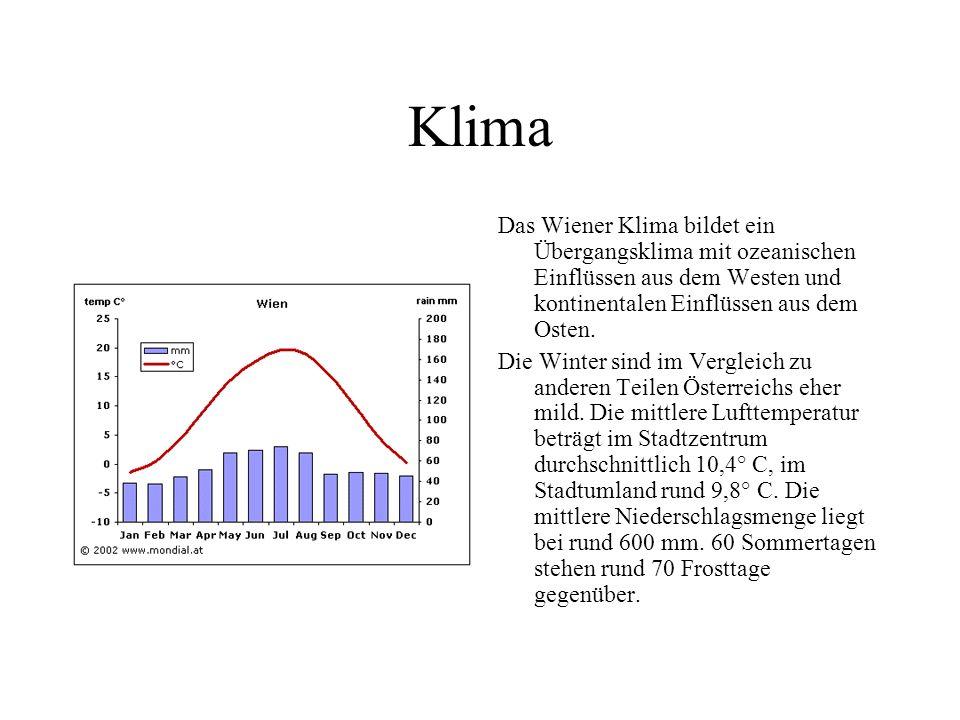 Klima Das Wiener Klima bildet ein Übergangsklima mit ozeanischen Einflüssen aus dem Westen und kontinentalen Einflüssen aus dem Osten.