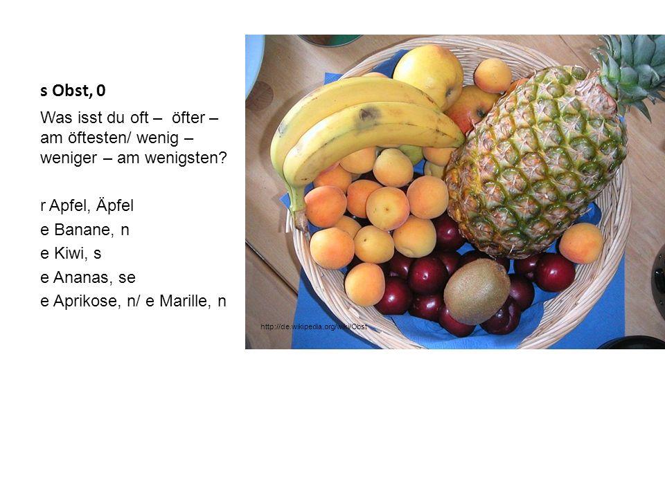 s Obst, 0 Was isst du oft – öfter – am öftesten/ wenig – weniger – am wenigsten r Apfel, Äpfel. e Banane, n.