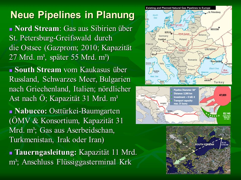Neue Pipelines in Planung