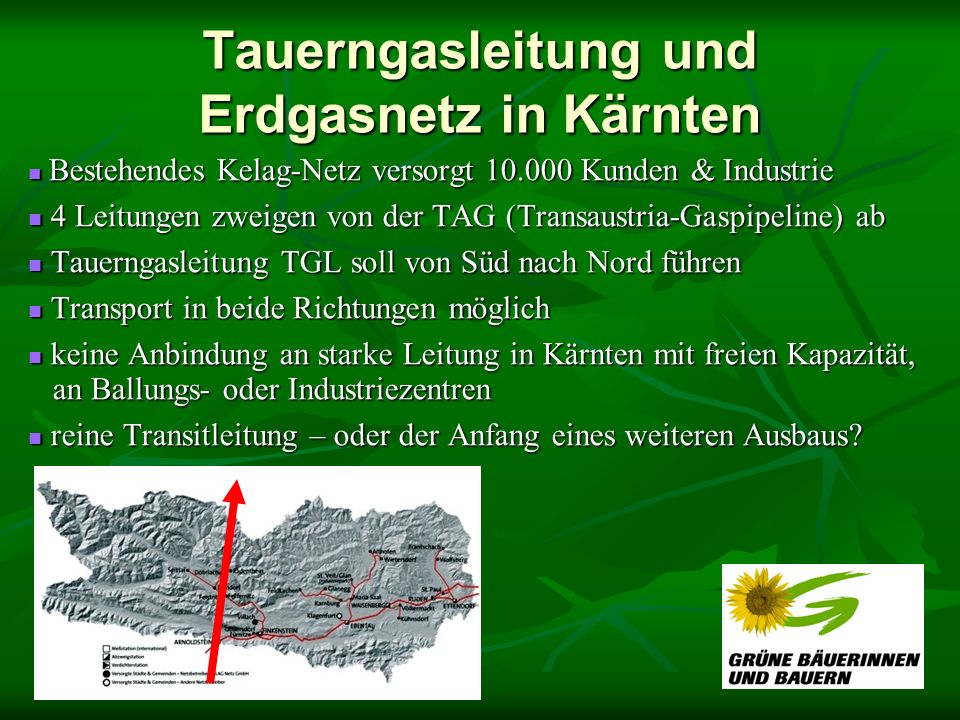 Tauerngasleitung und Erdgasnetz in Kärnten