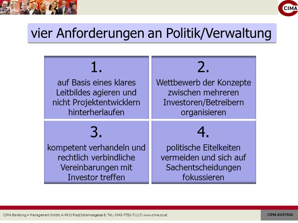 1. 2. 3. 4. vier Anforderungen an Politik/Verwaltung