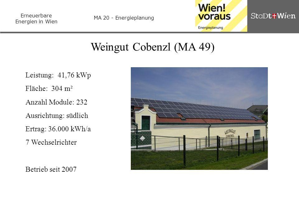 Weingut Cobenzl (MA 49) Leistung: 41,76 kWp Fläche: 304 m²
