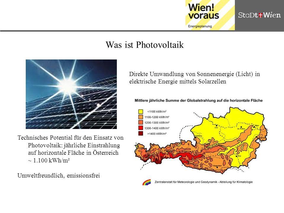 Was ist Photovoltaik Direkte Umwandlung von Sonnenenergie (Licht) in elektrische Energie mittels Solarzellen.