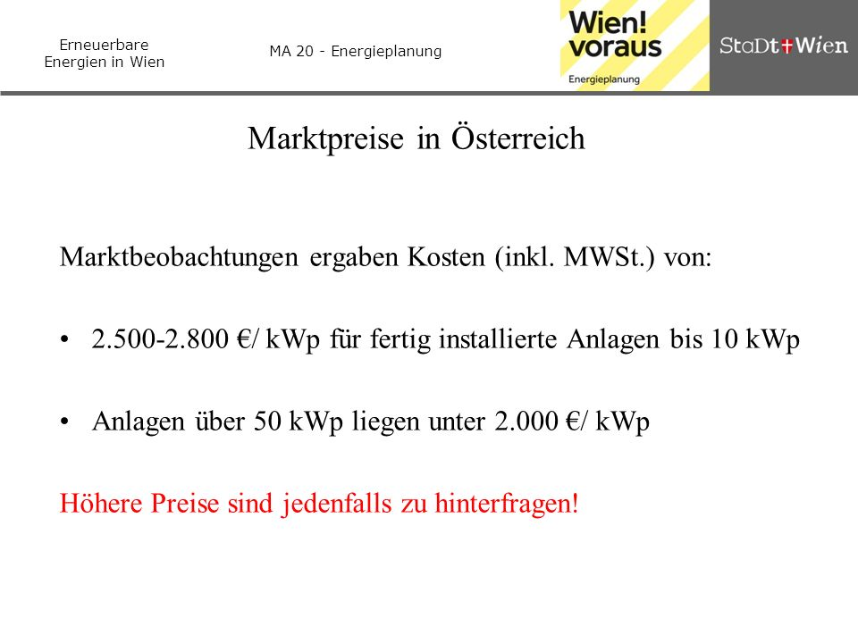 Marktpreise in Österreich
