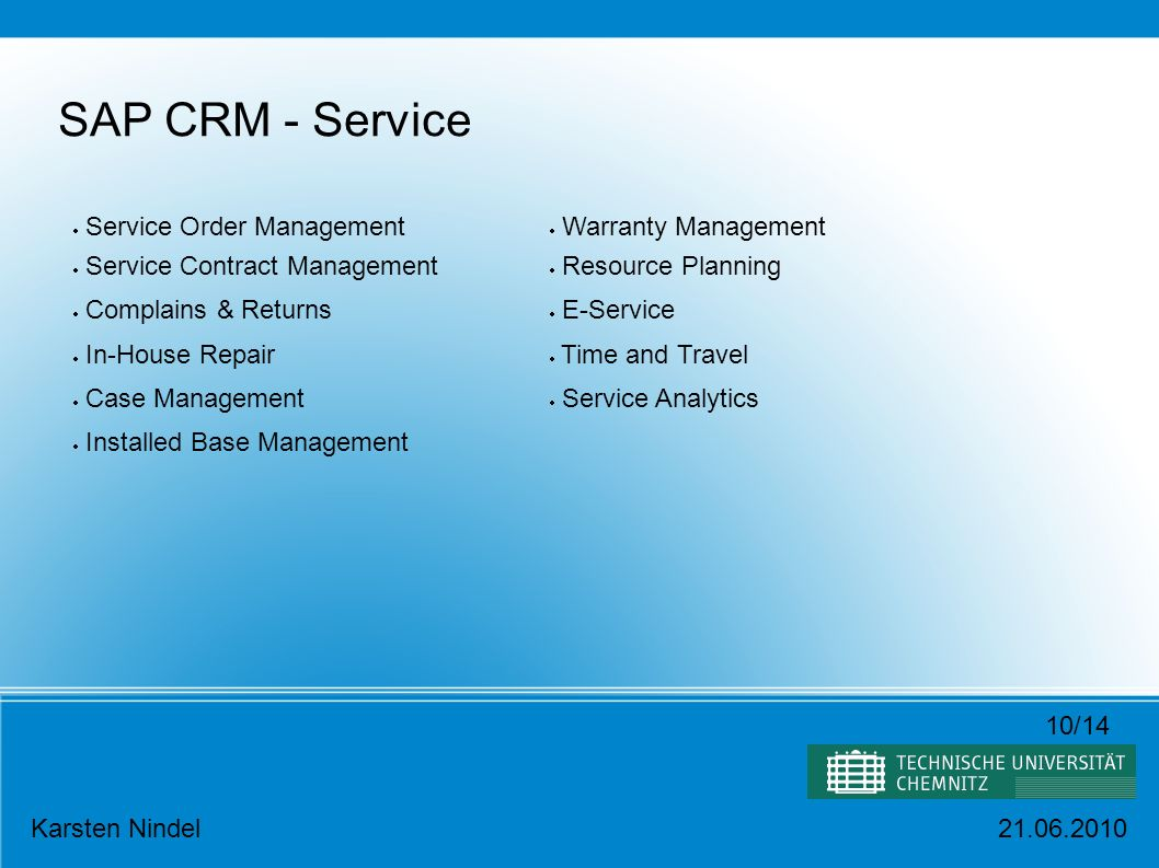 SAP CRM - Service Service Order Management Service Contract Management