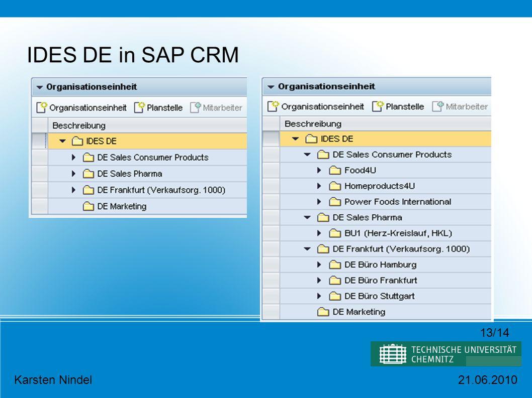 IDES DE in SAP CRM 13/14 Karsten Nindel 21.06.2010