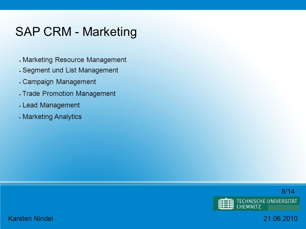 SAP CRM - Marketing Marketing Resource Management