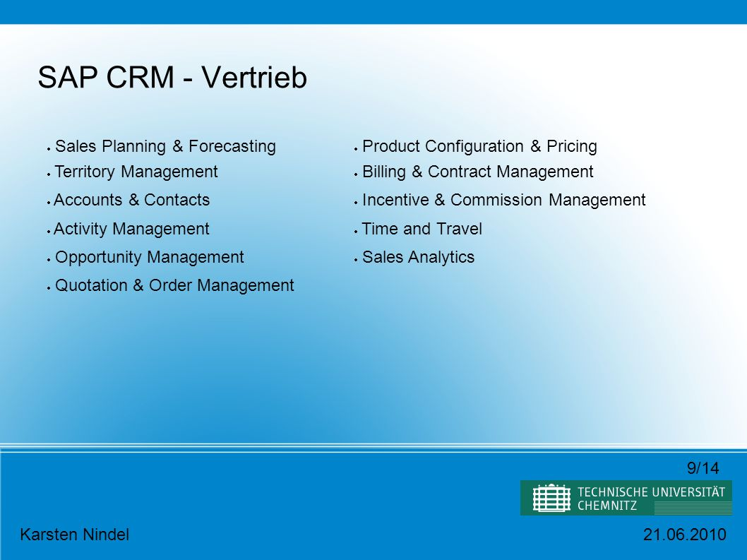 SAP CRM - Vertrieb Sales Planning & Forecasting Territory Management