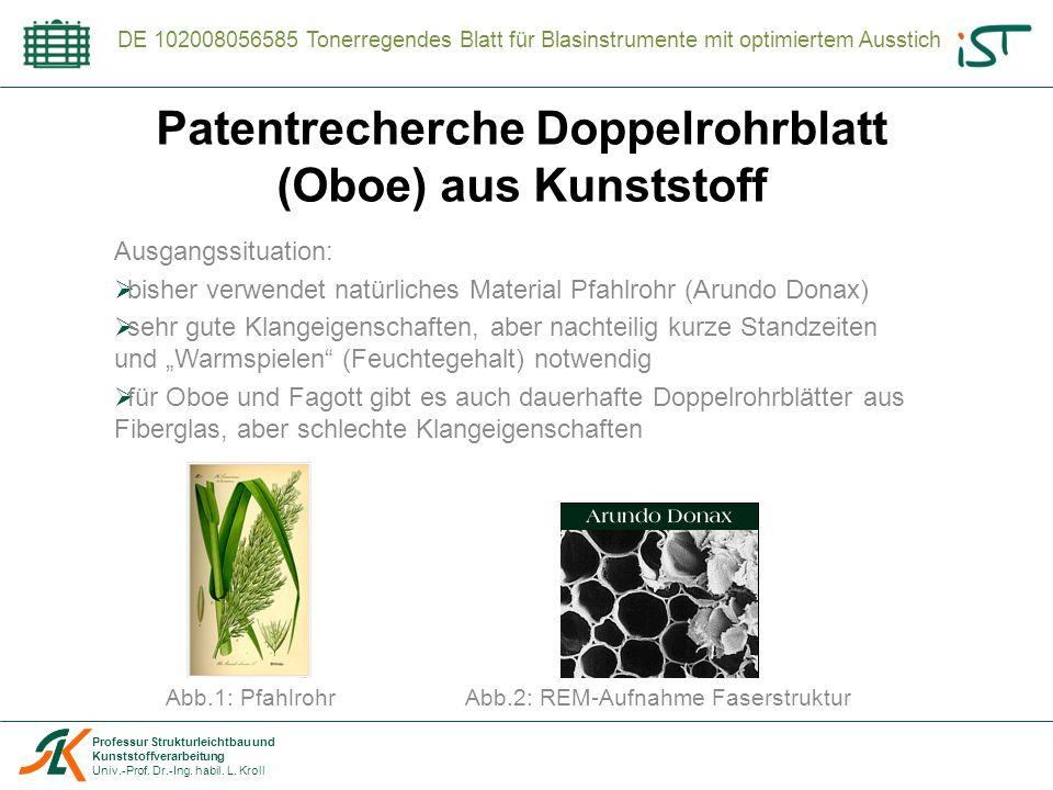 Patentrecherche Doppelrohrblatt (Oboe) aus Kunststoff