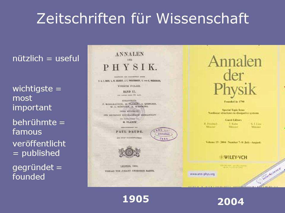 Zeitschriften für Wissenschaft