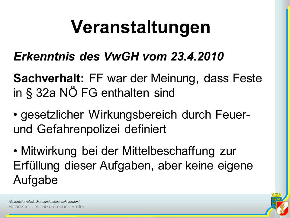 Veranstaltungen Erkenntnis des VwGH vom 23.4.2010