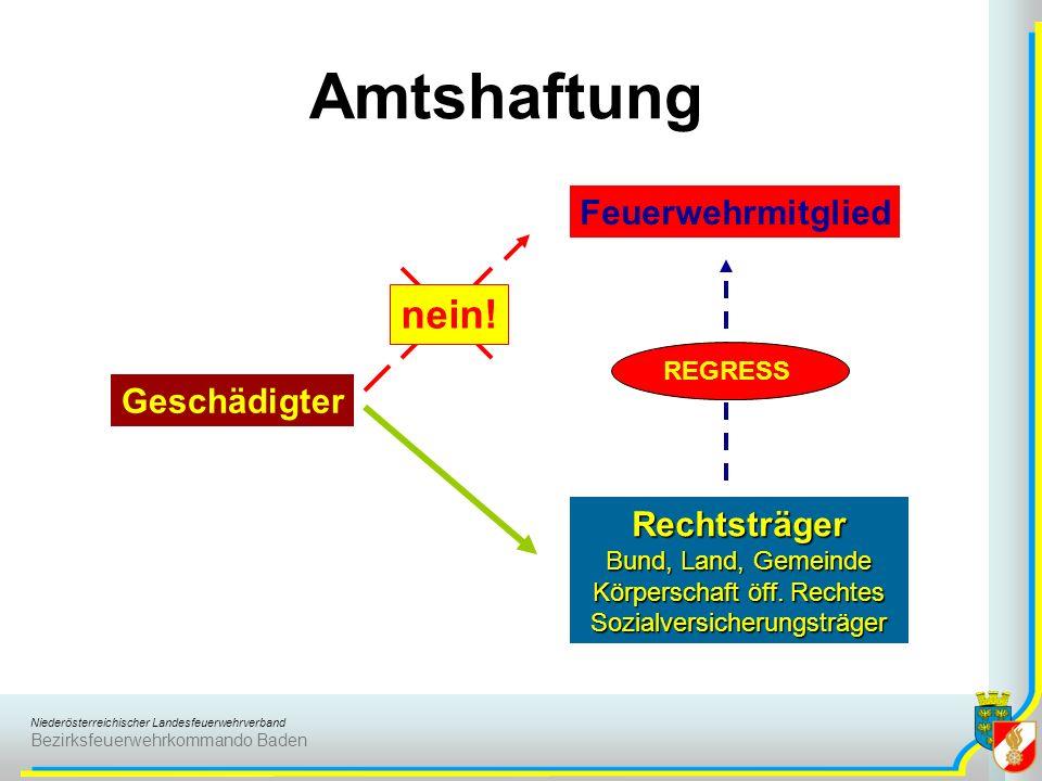 Amtshaftung nein! Feuerwehrmitglied Geschädigter Rechtsträger REGRESS
