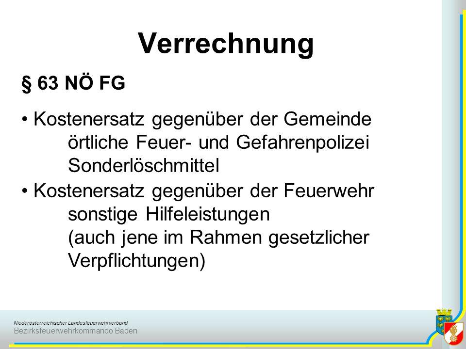 Verrechnung § 63 NÖ FG Kostenersatz gegenüber der Gemeinde