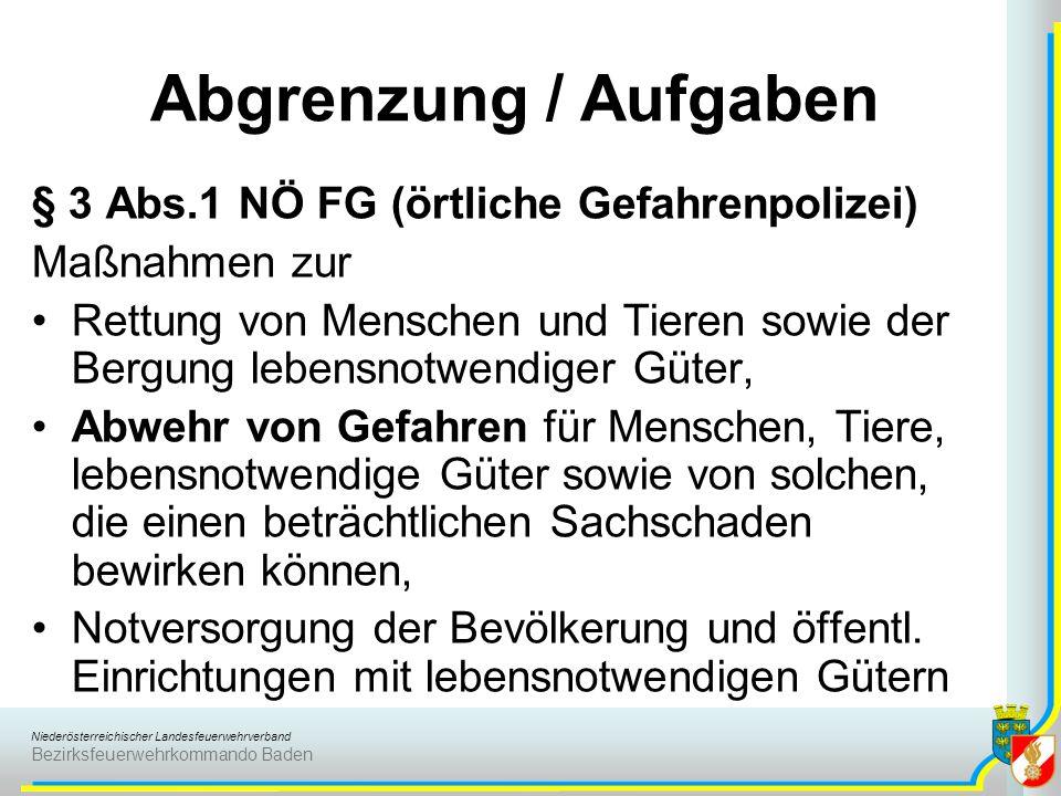 Abgrenzung / Aufgaben § 3 Abs.1 NÖ FG (örtliche Gefahrenpolizei)