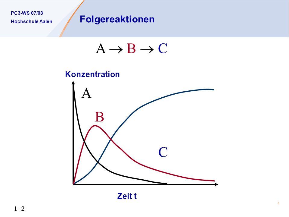 Folgereaktionen A  B  C A B C Konzentration Zeit t 1-2