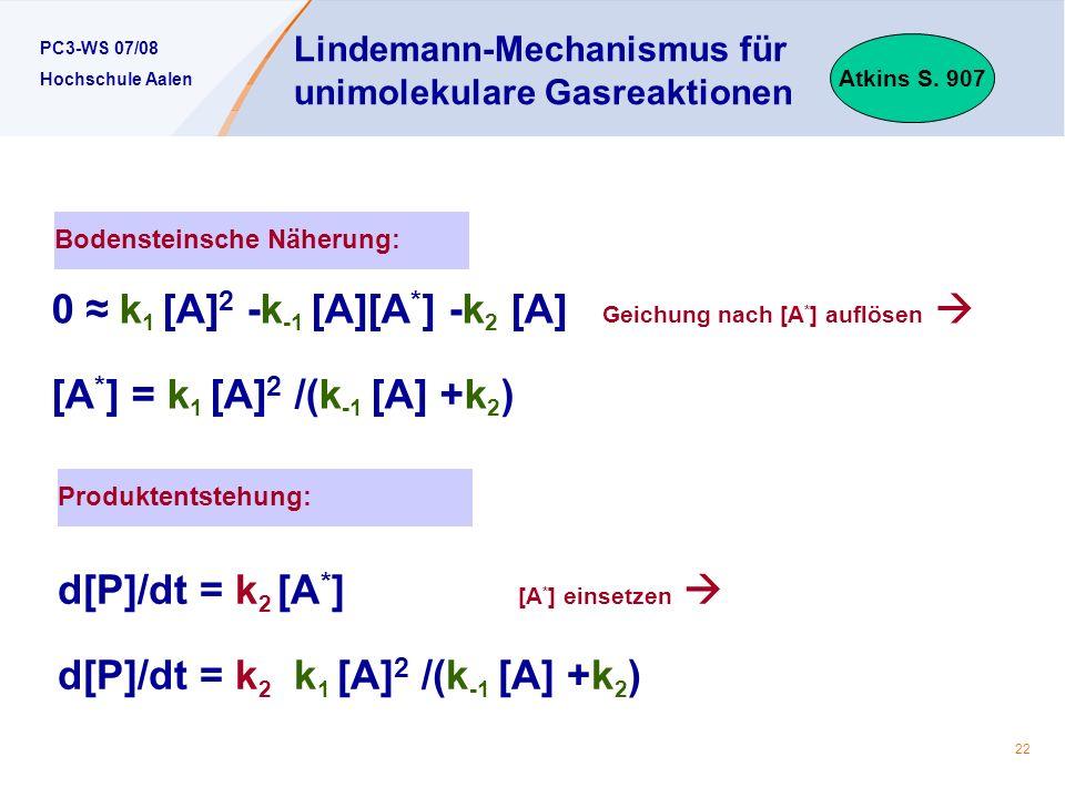 Lindemann-Mechanismus für unimolekulare Gasreaktionen