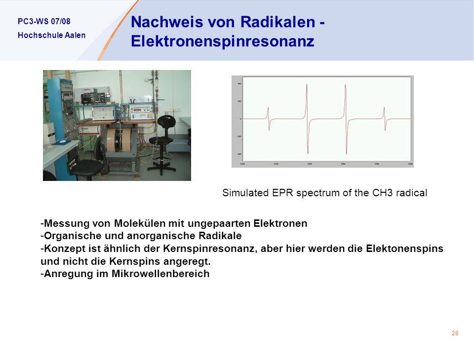 Nachweis von Radikalen -Elektronenspinresonanz