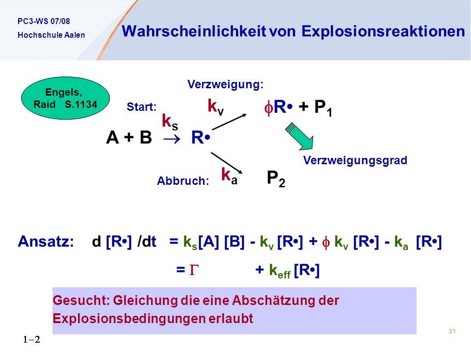 Wahrscheinlichkeit von Explosionsreaktionen