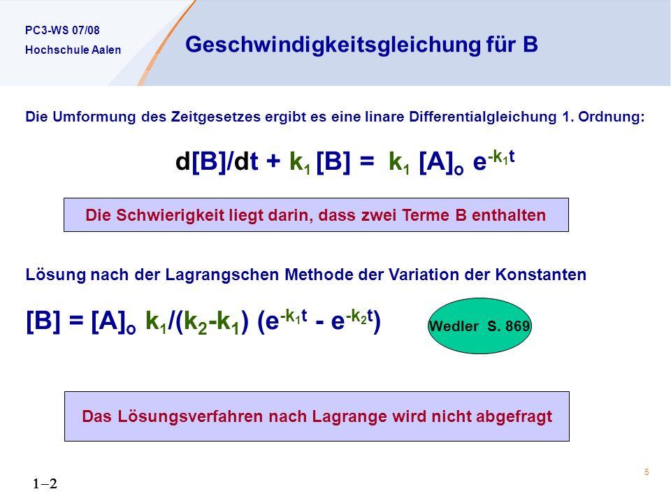 Geschwindigkeitsgleichung für B