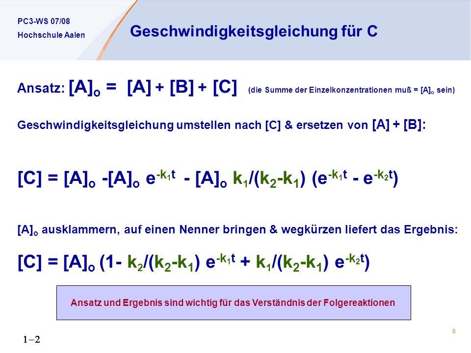 Geschwindigkeitsgleichung für C