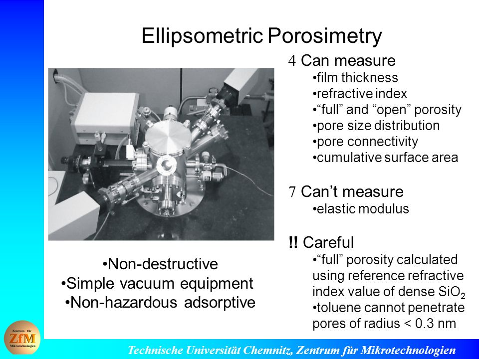 Ellipsometric Porosimetry