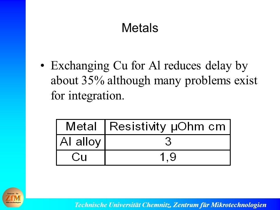 Metals Exchanging Cu for Al reduces delay by about 35% although many problems exist for integration.