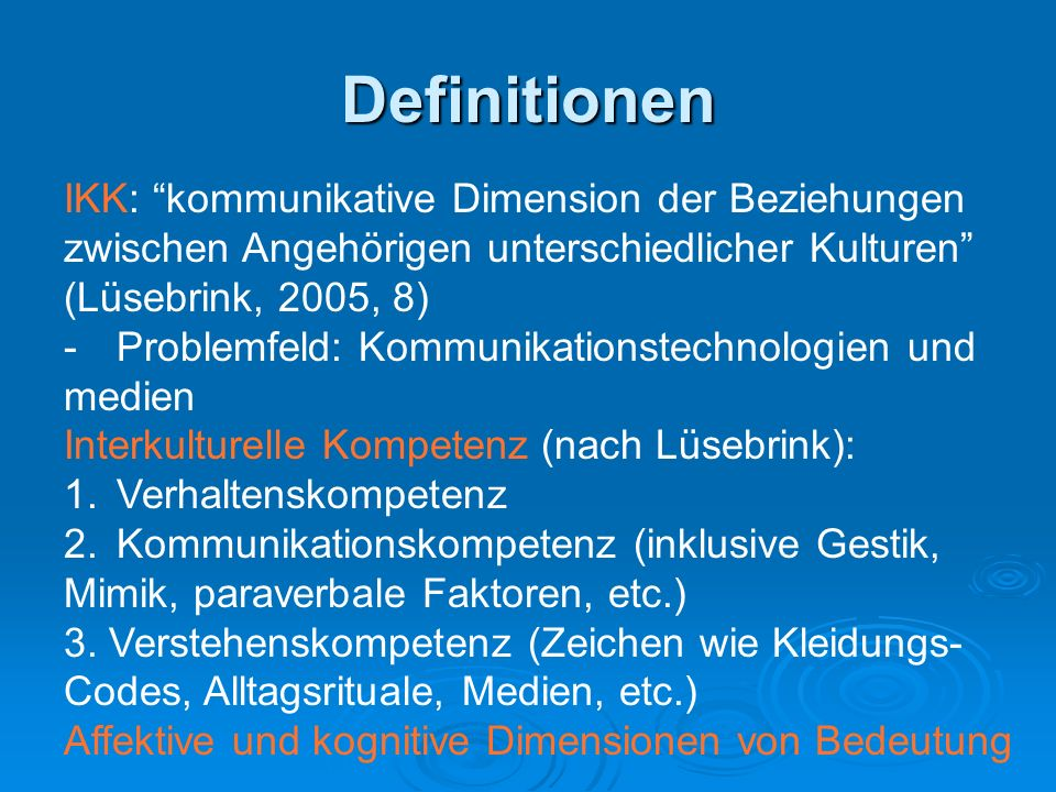 Definitionen IKK: kommunikative Dimension der Beziehungen