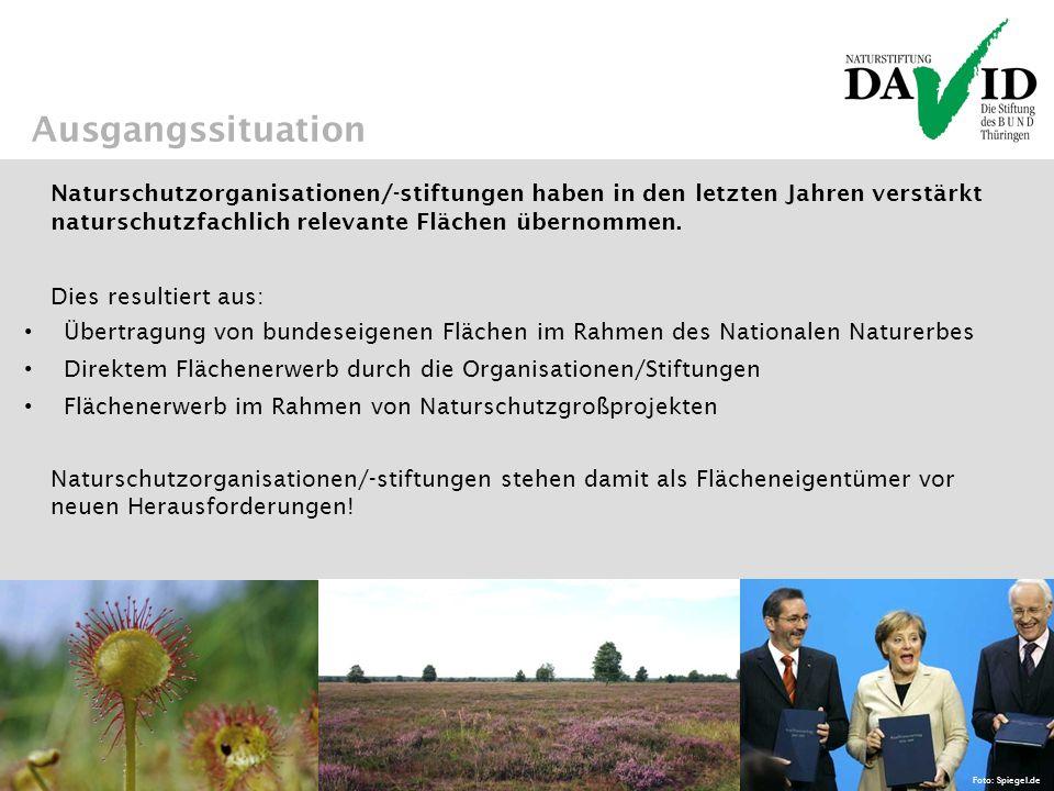 Ausgangssituation Naturschutzorganisationen/-stiftungen haben in den letzten Jahren verstärkt naturschutzfachlich relevante Flächen übernommen.